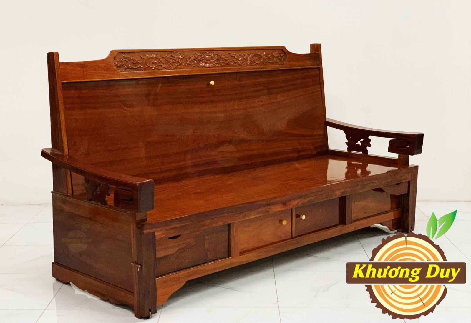 ghế trường kỷ gỗ căm xe kéo ra thành giường